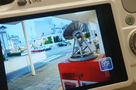 水沢駅のポストの電波望遠鏡